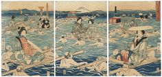 Crossing the Oi River, 1847 - 1852 by Hiroshige (1797 - 1858)