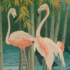 1958 Pink Flamingo Paint by Number Painting Tropical Tiki Mid Century Large | eBay