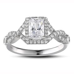 Emerald Cut White Sapphire Sterling Silver Women's Engagement Ring JoanceeJewelry