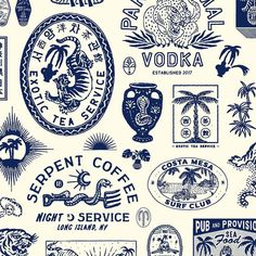Find tips and tricks, amazing ideas for Retro logos. Discover and try out new things about Retro logos site Vintage Graphic Design, Graphic Design Typography, Graphic Design Illustration, Branding Design, Logo Vintage, Logo Branding, Motifs Art Nouveau, Arte Peculiar, Etiquette Vintage