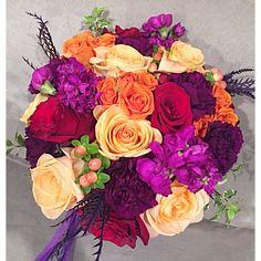 Round all flower wedding bouquet in bright colours Bright Colours, All Flowers, Flower Bouquet Wedding, Red Wedding, Floral Wreath, Peach, Wreaths, Purple, Home Decor