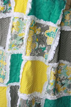 Crib Rag Quilt Gender Neutral Crib Bedding Teal Gray Yellow Nursery on Etsy, $92.95