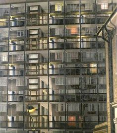 David Hepher - Camberwell nocturne - 1984 'I do not see them as prisons … I cannot escape the irony of what they represent, but to me they can be curiously beautiful. Powerful and menacing, like the north face of the Eiger [a mountain in the Swiss. Urban Landscape, Landscape Art, London Painting, Tower Block, Urban Nature, London Museums, National Art, Textiles, A Level Art