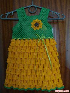 crochet sunflower dress for baby girls
