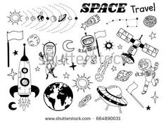 Space themed doodle. Vector flat illustration