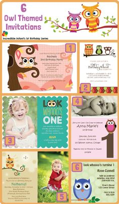 6 Owl Invitations ~ Part of 30 Owl Birthday Party Ideas from http://www.incredibleinfant.com