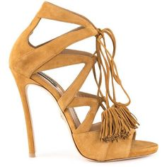 Dsquared2 tassel tie sandals ($915) ❤ liked on Polyvore featuring shoes, sandals, brown, tassel sandals, embellished sandals, brown leather shoes, heels stilettos and brown shoes