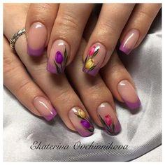 Trendy Nails French Tip Spring Nailart French Nail Designs, Colorful Nail Designs, Nail Art Designs, Latest Nail Designs, Nails Design, Tulip Nails, Flower Nails, Purple Nails, Green Nails