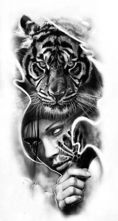 Mais de 100 Desenhos para Tatuagens Realistas   Tatuagens - Ideias Tiger Tattoo Design, Clock Tattoo Design, Tattoo Sketches, Tattoo Drawings, Drawing Sketches, Petit Tattoo, Tattoo Project, Tattoo Sleeve Designs, Custom Tattoo