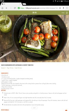 Baked barramundi with asparagus & cherry tomatoes Clean Eating Recipes, Diet Recipes, Healthy Eating, Healthy Recipes, 28 By Sam Wood, Interesting Recipes, Cherry Tomatoes, Asparagus, Seafood