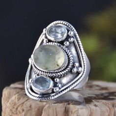 925 SOLID STERLING SILVER PREHNITE EXCLUSIVE RING 9.57g DJR11103 SZ-8 #Handmade #Ring