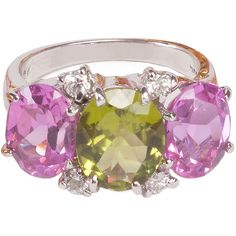Pre-owned Mini Peridot Pink Topaz Diamond Gold Gum Drop Ring ($2,800) ❤ liked on Polyvore