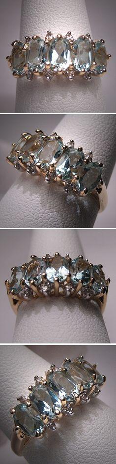 Vintage Aquamarine Diamond Wedding Ring Band by AawsombleiJewelry, $895.00