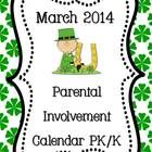 """If you want more meaningful """"homework"""" for your PK or Kindergarten students, this freebie March Parental  Involvement Calendar is for you.    Stude..."""