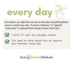Every day or everyday English Speaking Skills, Learn English Words, English Grammar, Grammar Tips, Sign Off, Word Of The Day, Content Marketing, Vocabulary, Twitter Sign Up