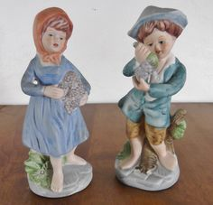 Vintage Porcelain Boy and Girl Figurines Carrying Grapes Collectible Figurines by SusieSellsVintage on Etsy