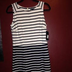 TH striped dress Mid-length stripe dress in navy and white Tommy Hilfiger Dresses Midi