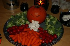 puking pumpkin veggie tray