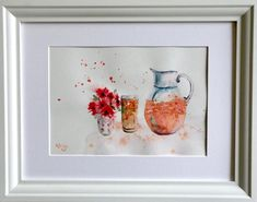 Juice on the Rocks — Rine Philbin Art Watercolour, oils and acrylic paintings Summer Drinks, Watercolour Painting, The Rock, Juice, Rocks, Food, Eten, Rock, Meals