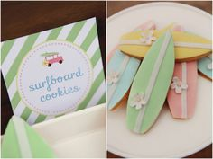 Vintage Surf Party for Girls :: Aussie Party Challenge Ocean Party, Beach Party, Surfboard, Surfer Party, Surf Cake, Fancy Cupcakes, Kids Party Themes, Party Ideas, Summer Cookies