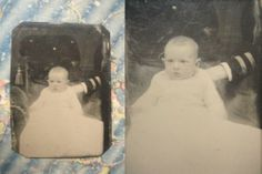 1 6 Plate 1880's Tintype Hidden Mom Striped Arm Steadies Baby on Velvet Chair | eBay