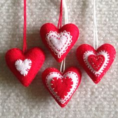 Valentine heart ornaments Red and White felt hearts Set of four by Lucismiles on Etsy
