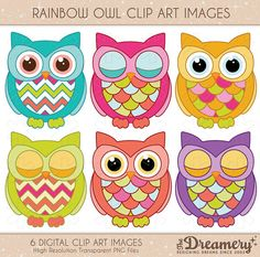 6 Rainbow Owl Clip Art Images - PNG - INSTANT DOWNLOAD - Invitations, Party, Baby Shower, Birthday, Scrapbooking
