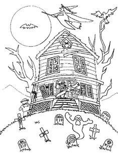Disegni di Halloween da stampare e colorare - Casa spettrale