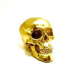 gold #skull head metallic gold decor spooky skulls by nashpop, $25.00
