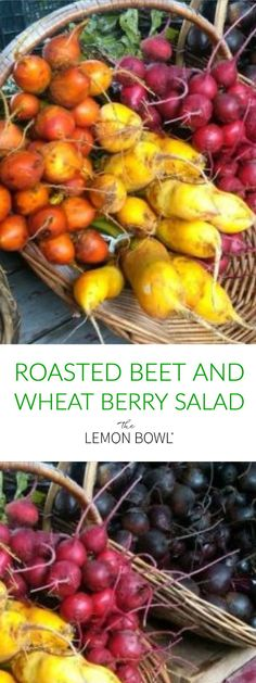 Bursting with color and loaded with vitamins and minerals, roasting beets causes them to caramelize which brings out their natural sugars! Try this Roasted Beet and Wheat Berry Salad! Good Healthy Recipes, Delicious Recipes, Easy Recipes, Wheat Berry Salad, Lemon Bowl, Beet Salad, Roasted Beets, Salad Ingredients, Kitchen Recipes