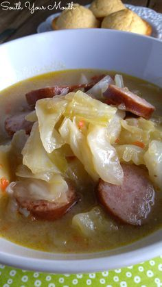 Cabbage Stew! A hearty stew made with cabbage, smoked sausage or kielbasa and potatoes. Great with cornbread or crusty french bread!