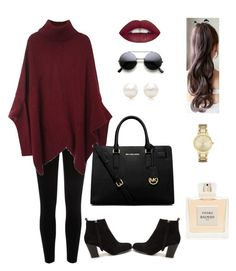 """Burgundy and Black"" by mayraliz on Polyvore featuring River Island, Nly Shoes, MICHAEL Michael Kors, Tiffany & Co., Kate Spade, Balmain, women's clothing, women's fashion, women and female"