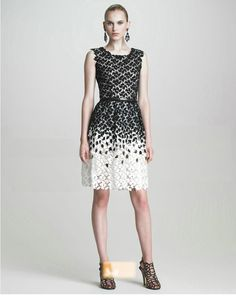 Black & White Floral Hollow-out Sleeveless Dress