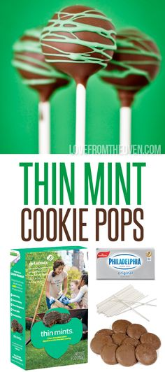 Recipe to give out at booth? This might be the greatest thing I've ever done with Girl Scout Cookies. These are out of this world AMAZING! Pin and make when those cookies come in! Gs Cookies, Thin Mint Cookies, Cupcake Cookies, Girl Scout Cookies Recipes, Cookie Recipes, Dessert Recipes, Cookie Pops, Brownie Pops, Thin Mints