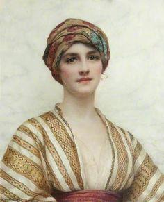 William Clarke Wontner (British 1857–1930) [Portraits, Academicism, Classicism, Romanticism] Portrait of a Young Woman.