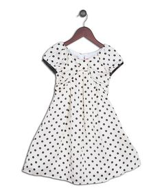 Look what I found on #zulily! White Polka Dot Empire-Waist Shift Dress - Toddler & Girls #zulilyfinds
