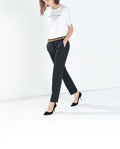 Image 2 of CROPPED TROUSERS WITH BELT from Zara