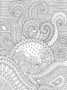 Sun and waves, paisley and stripes zentangle style coloring page Detailed Coloring Pages, Printable Adult Coloring Pages, Cute Coloring Pages, Doodle Coloring, Animal Coloring Pages, Mandala Coloring, Free Coloring, Coloring Books, Paisley Coloring Pages