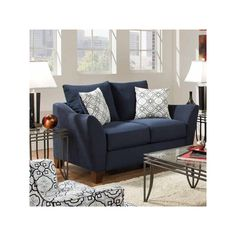 This navy blue loveseat is all kinds of cute and matches PANTONE's 2016 spring color Snorkel Blue. (Matching Sofa also available.) Pinstripe Loveseat | Weekends Only Furniture and Mattress