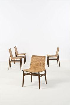 Jørgen Høj; Teak and Cane Side Chairs for Thorald Madsen, 1951.
