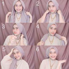 Tutorial Hijab 3 - Langkah praktis cara memakai jilbab simple yang dilengkapi dengan gambar yang mudah dipahami.