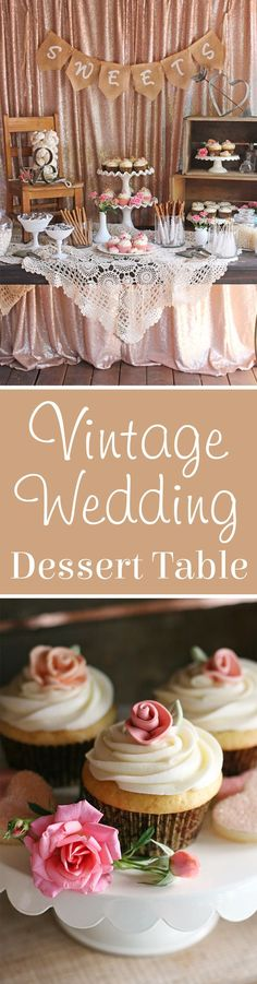 Wedding Dessert Table SO PRETTY! Beautifully rustic and romantic Vintage Wedding Dessert Table! Beautifully rustic and romantic Vintage Wedding Dessert Table! Wedding Centerpieces, Wedding Table, Rustic Wedding, Wedding Decorations, Wedding Vintage, Wedding Ideas, Table Decorations, Wedding Themes, Vintage Party