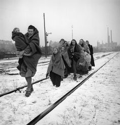 Ethnic German survivors of the death march from the Polish city of Lodz arrive in Berlin, Dec 14, 1945. These are the only survivors of a group of 150.