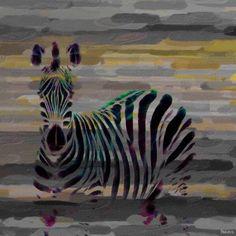 Parvez Taj Stripes Art Print on Premium Canvas, Size: 24 inch x 24 inch, Multicolor