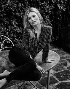 Photographed in black and white, Kate wears Kate Moss for Equipment polka dot shirt and pants The Edit Magazine June 2016