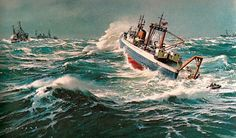 """The Marine Paintings of Carl G. Evers"" Illustrated by CG Evers © Peacock Press/Bantam 1975 Courtesy of Charlie Allen Sea Pictures, Sailboat Painting, Ship Paintings, Rivage, Boat Art, Stormy Sea, Water Art, Nautical Art, Tug Boats"