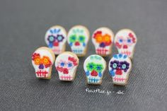 Day of The Dead Rainbow Skulls Earrings by PetitPlat