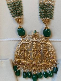 22 Karat Gold 'Ram Parivar' Long Necklace with Cz,Ruby,Emerald,Pearls & Beads (Temple Jewellery) Length of the Necklace with Pendant : inches Pearl Necklace Designs, Jewelry Design Earrings, Emerald Jewelry, Gold Jewellery Design, Bead Jewellery, Beaded Jewelry, Gold Jewelry, Beaded Necklace, Gold Necklace