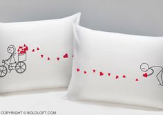 """I've been saving all my love for you and the time has come for me to show you where all that love comes from!"" With these amusing pillowcases, you're sure to bring a smile to your loved one! BOLDLOFT®""All My Love for You"" His and Hers Couple Pillowcases. $24.99 via BoldLoft. #boldloft #lovegifts #lovepillowcases"