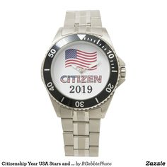 Citizenship Year USA Stars and Stripes Text Wrist Watch $96.90 A subtle design, for a gentleman. Celebrate your immigration and Citizenship to the USA, created in the red white and blue of our American Flag! Stars and Stripes patterned letters spell out Citizen! Add your Citizen Year or your Name, make this your own! See more from our Americana and Citizenship design categories in our store.